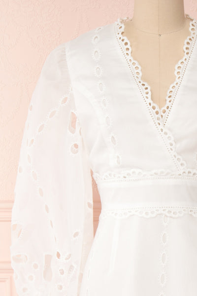 Hamadryas White Openwork Maxi Bridal Dress | Boudoir 1861 front close-up