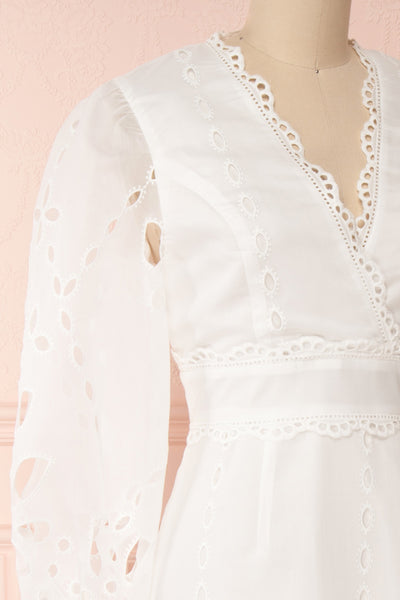 Hamadryas White Openwork Maxi Bridal Dress | Boudoir 1861 side close-up
