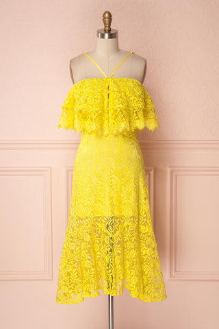 Hamay Yellow Lace Off-Shoulder Cocktail Dress | Boutique 1861