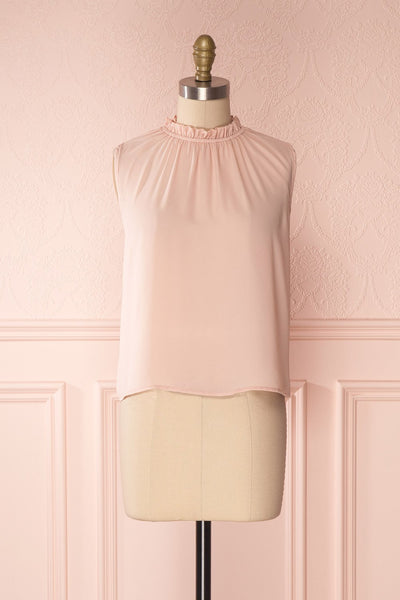 Hanabi Dusty Pink Ruffled Collar Sleeveless Top | Boutique 1861 1