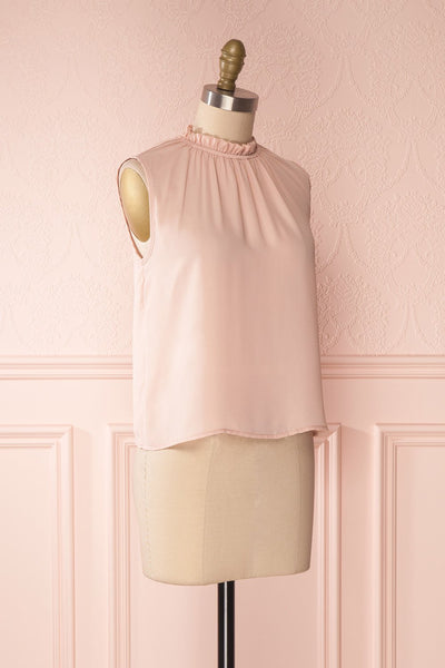 Hanabi Dusty Pink Ruffled Collar Sleeveless Top | Boutique 1861 3