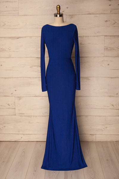 Haro Blue Long Sleeve Open-Back Fitted Gown | La Petite Garçonne