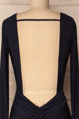 Haro Navy Blue Long Sleeve Open-Back Fitted Gown | La Petite Garçonne