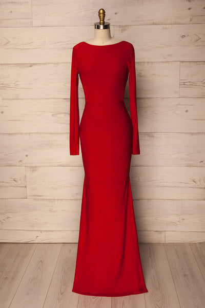 Haro Red Long Sleeve Open-Back Fitted Gown | La Petite Garçonne