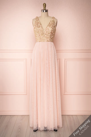 Harriet Pink & Gold Floral Tulle A-Line Gown | Boutique 1861