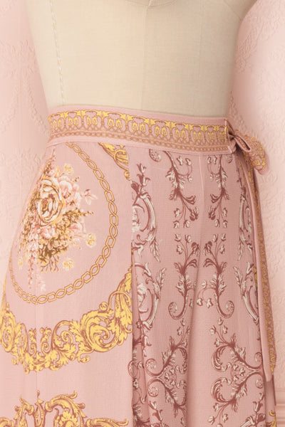 Hasagi Light Pink Baroque Printed Wide Leg Pants | Boutique 1861