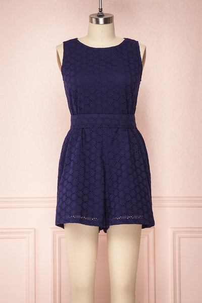 Hashima Navy Blue Lace Romper | Boutique 1861