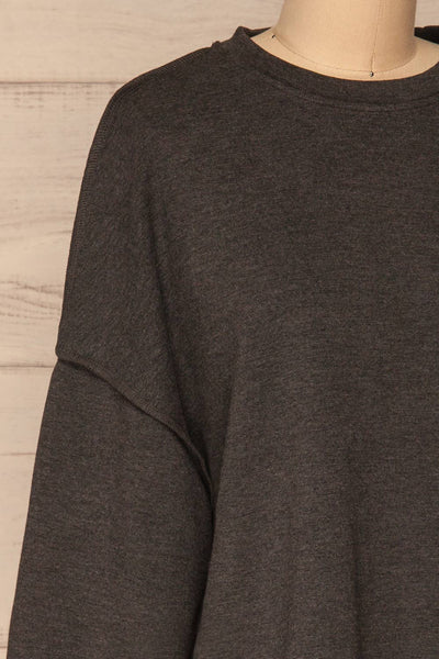 Hattem Black Oversized Sweater | La petite garçonne   side close-up