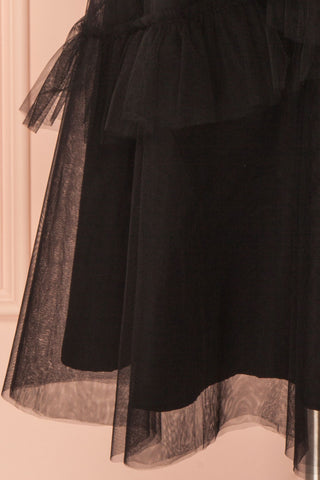 Haumea Black Ruffled Tulle Midi Skirt | Boutique 1861 7