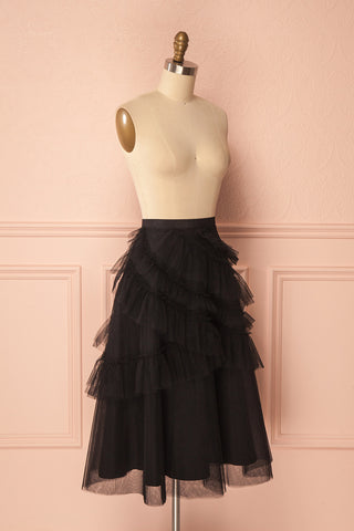 Haumea Black Ruffled Tulle Midi Skirt | Boutique 1861 3
