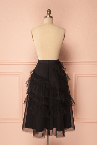 Haumea Black Ruffled Tulle Midi Skirt | Boutique 1861 5
