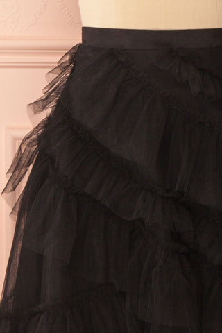 Haumea Black Ruffled Tulle Midi Skirt | Boutique 1861 2