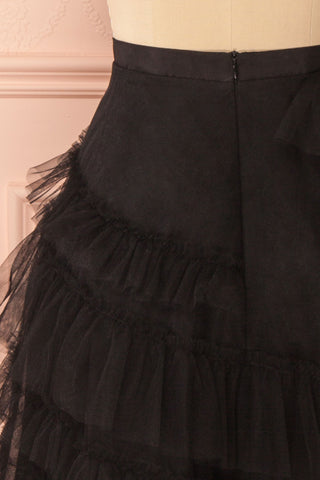 Haumea Black Ruffled Tulle Midi Skirt | Boutique 1861 6