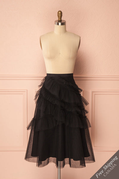 Haumea Black Ruffled Tulle Midi Skirt | Boutique 1861 1