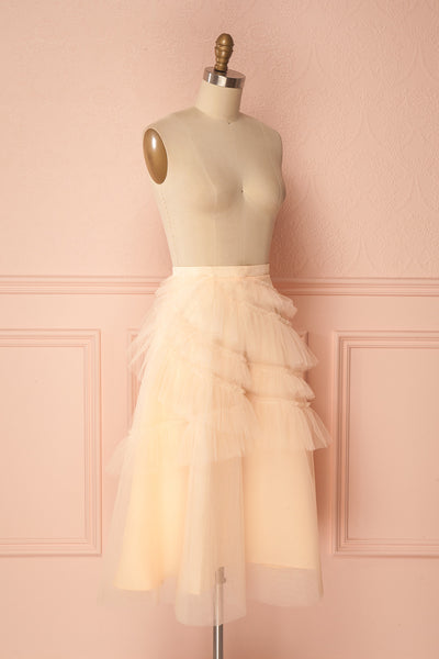 Haumea Peach Ruffled Tulle Midi Skirt | Boutique 1861 3