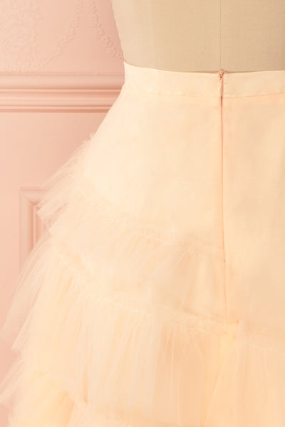 Haumea Peach Ruffled Tulle Midi Skirt | Boutique 1861 6