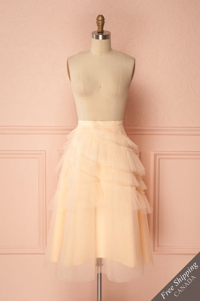 Haumea Peach Ruffled Tulle Midi Skirt | Boutique 1861 1
