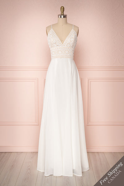 Hawa White Lace & Chiffon A-Line Gown | Boutique 1861