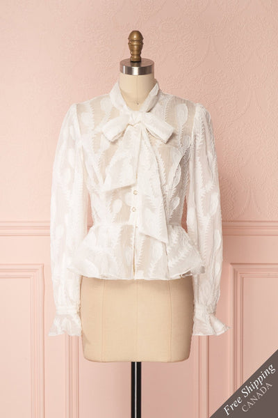 Hawaiki White Organza Blouse with Peplum | Boutique 1861 1