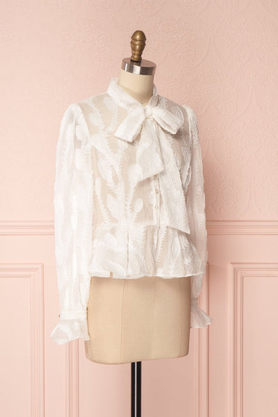 Hawaiki White Organza Blouse with Peplum | Boutique 1861 3