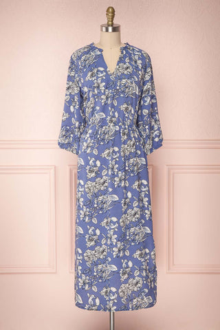 Haydn Light Blue Floral Midi Dress with Ruffles | Boutique 1861