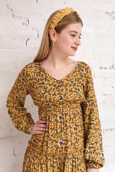 Flamands Yellow Floral Midi Dress | Boutique 1861 on model