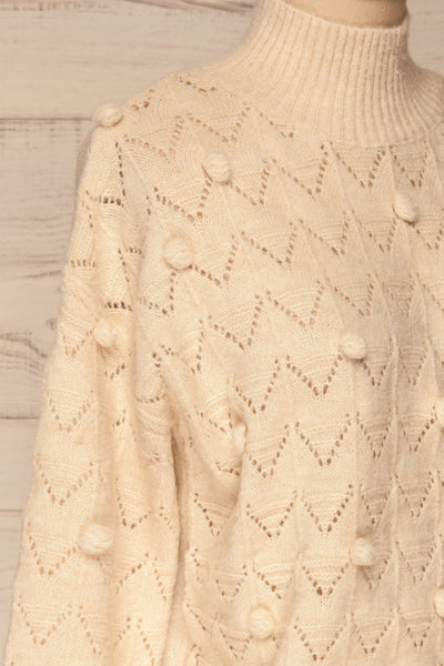 Hedjour Cream Sweater | Tricot | La Petite Garçonne side close-up