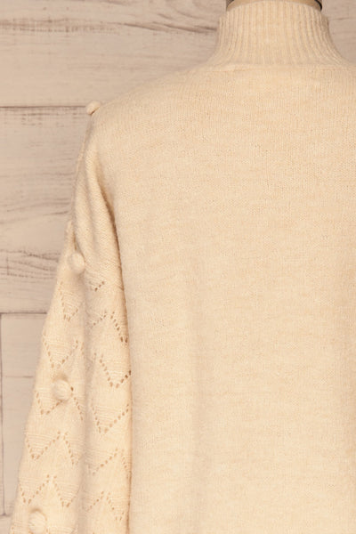 Hedjour Cream Sweater | Tricot | La Petite Garçonne back close-up
