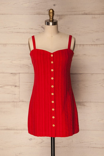 Heem Cerise Red Fitted Button-Up Dress | La Petite Garçonne