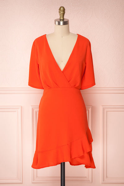 Helah Tangerine Coral Orange Cocktail Dress | Boutique 1861
