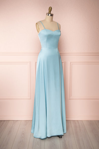 Hellee Blue Light Blue Silky Maxi Dress | Boudoir 1861 side view