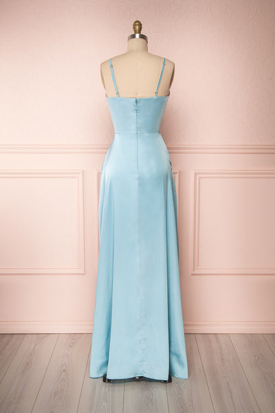 Hellee Blue Light Blue Silky Maxi Dress | Boudoir 1861 back view