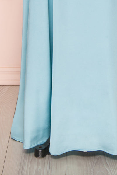 Hellee Blue Light Blue Silky Maxi Dress | Boudoir 1861 bottom close-up