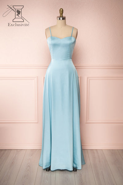 Hellee Blue Light Blue Silky Maxi Dress | Boudoir 1861 front view