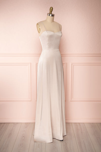 Hellee Cream Beige Silky Maxi Dress | Boudoir 1861 side view