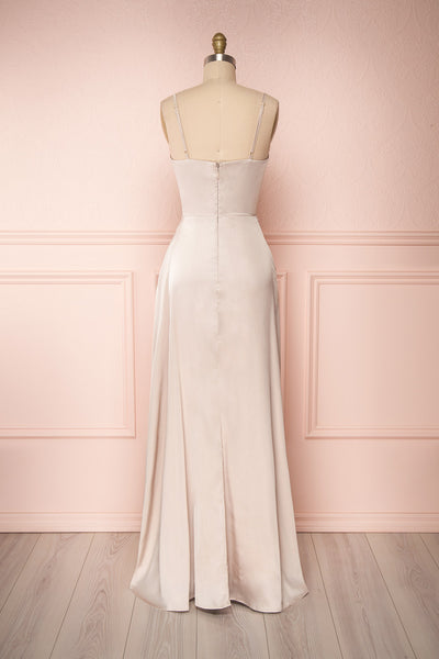 Hellee Cream Beige Silky Maxi Dress | Boudoir 1861 back view