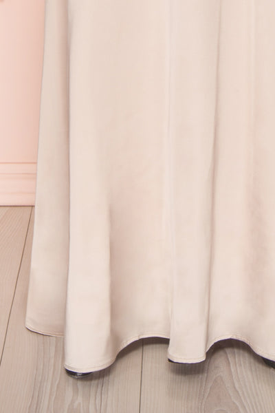 Hellee Cream Beige Silky Maxi Dress | Boudoir 1861 bottom close-up
