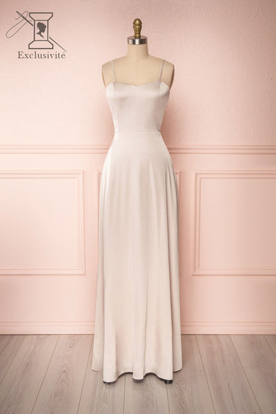 Hellee Cream Beige Silky Maxi Dress | Boudoir 1861 front view