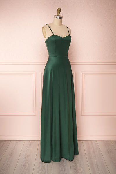 Hellee Green Dark Green Silky Maxi Dress | Boudoir 1861 side view