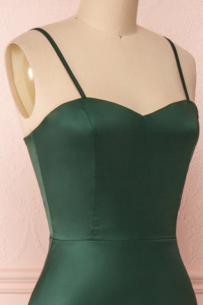 Hellee Green Dark Green Silky Maxi Dress | Boudoir 1861 side close-up