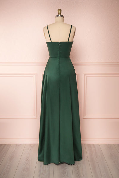 Hellee Green Dark Green Silky Maxi Dress | Boudoir 1861 back view