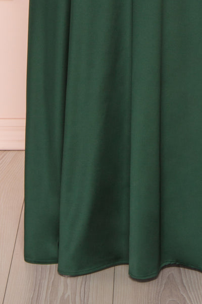 Hellee Green Dark Green Silky Maxi Dress | Boudoir 1861 bottom close-up