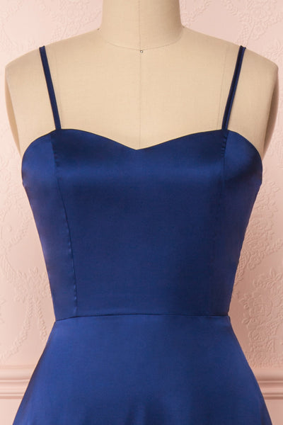 Hellee Navy Blue Silky Maxi Dress | Boudoir 1861 front close-up