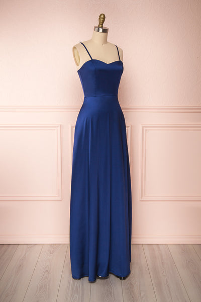 Hellee Navy Blue Silky Maxi Dress | Boudoir 1861 side view