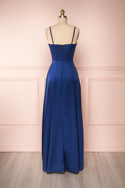 Hellee Navy Blue Silky Maxi Dress | Boudoir 1861 back view
