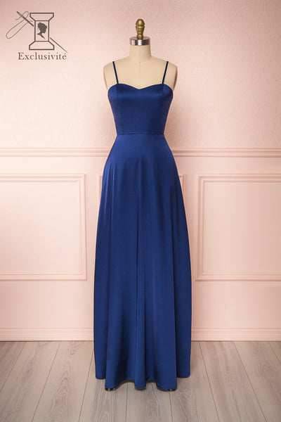 Hellee Navy Blue Silky Maxi Dress | Boudoir 1861 front view