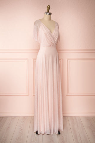 Helma Blush Pink Maxi Dress | Robe Rose | Boutique 1861 side view