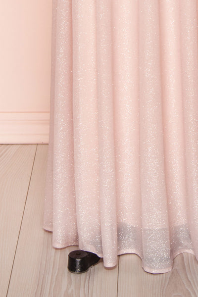 Helma Blush Pink Maxi Dress | Robe Rose | Boutique 1861 bottom close-up