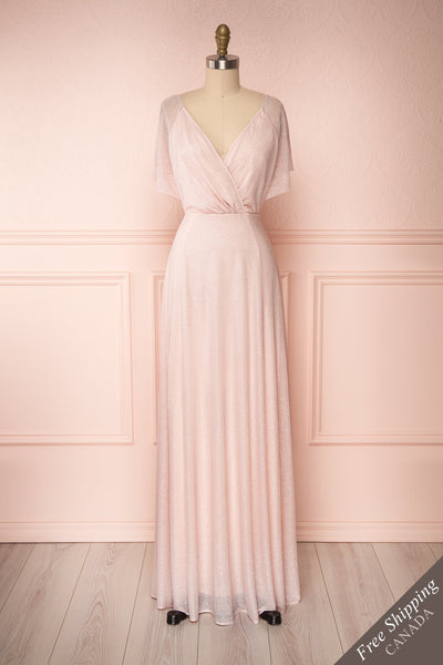 Helma Blush Pink Maxi Dress | Robe Rose | Boutique 1861 front view