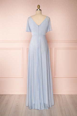 Helma Dusty Blue Maxi Dress | Robe | Boutique 1861 back view